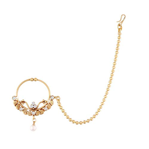 - Aheli Indian Ethnic Wedding AD Nath Nose Ring Hoop with Beaded Chain Traditional Party Jewelry for Women