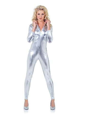 Bowie Costume (Underwraps Women's Stretch Jumpsuit, Silver,)