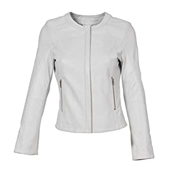 HOL Real Leather Collarless Jacket for Women Tailored Cut Slim Fit Lola White (10)