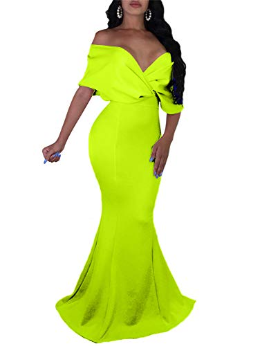 GOBLES Women Sexy V Neck Off The Shoulder Evening Gown Fishtail Maxi Dress Fluo Green