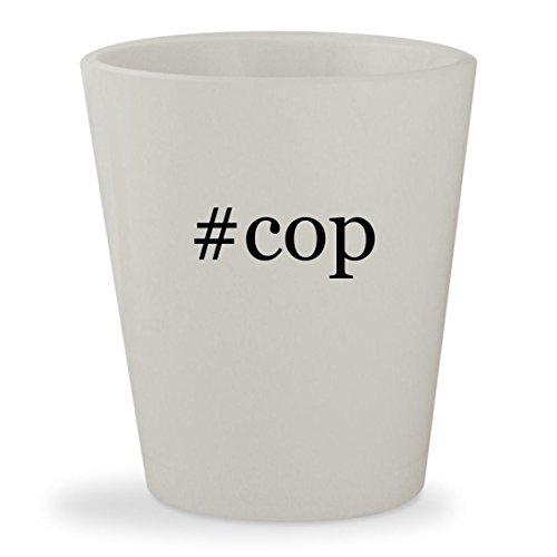 #cop - White Hashtag Ceramic 1.5oz Shot Glass