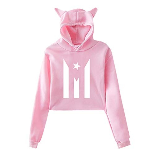 Cat Ear Hoodie Sweater for Girls Puerto Rico Resiste Boricua Flag Se Levanta Fashion Exposed Navel Hooded Crop Tops - Sweater Rico