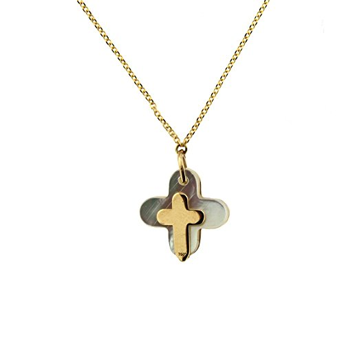 18K Yellow Gold Diamond Cross Pendant with 16 inch chain DI=0.02 tt ct by Amalia