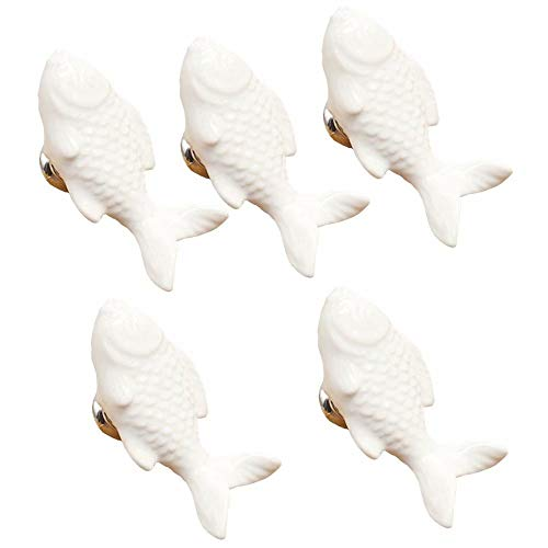 FirstDecor 5PCS Vintage Ceramic Door Knob Fish Shape Locker Pull Handles Drawer Cupboard Cabinet Knobs Wardrobe Home Kitchen Hardware-White