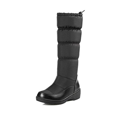 Women's Winter Mid Calf Tall Waterproof Rian Snow Boots Fur Lined Fashion Elastic Platform Snow Boot