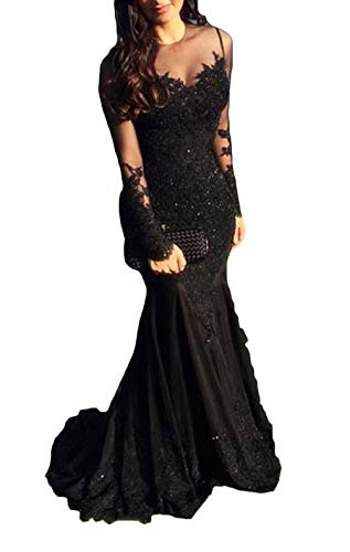Ri Yun Sexy Illusions Mermaid Prom Dresses Long Sleeve Lace Appliques Beaded Formal Evening Ball Gowns 2018, Black, 6