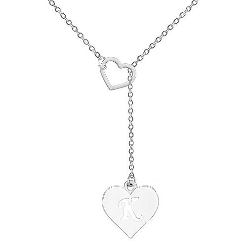 SENFAI Heart Shaped Y Necklace with 26 Initial Alphabet Letters for Women, 18 + 2 inches (K, Rhodium/Silver)