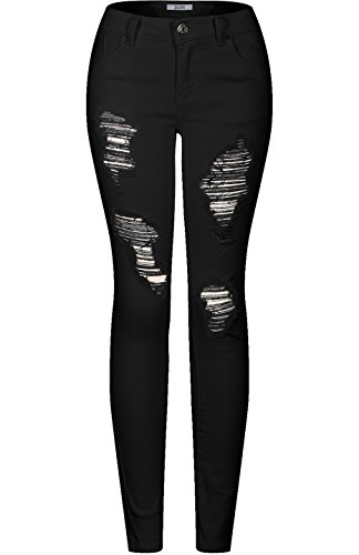2LUV Womens Stretchy 5 Pocket Destroyed Black Skinny Jeans Black2, 9