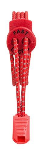 Fast Laces - Cordones elásticos, color Negro Rojo
