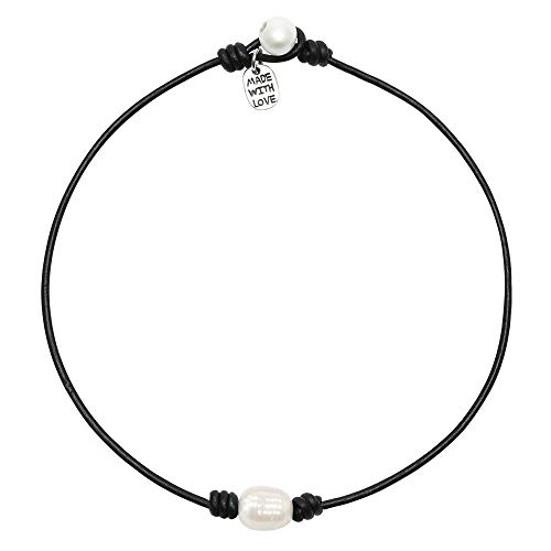 Single Cultured Freshwater Pearl Choker Necklace Handmade Genuine Black Leather One Bead Jewelry for Women Girls 14'' -