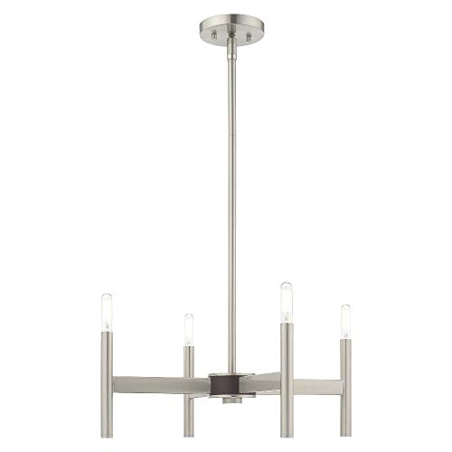 Livex Lighting 51174-91 Copenhagen - Four Light Mini Chandelier, Brushed Nickel Finish
