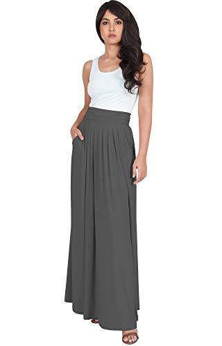 KOH KOH Plus Size Womens Flowy Cute Modest High Waist Floor Length Pockets Casual Semi Formal Vintage Slimming Work Office Workwear Maxi Skirt Skirts, Pewter Gray Grey 3XL 22-24