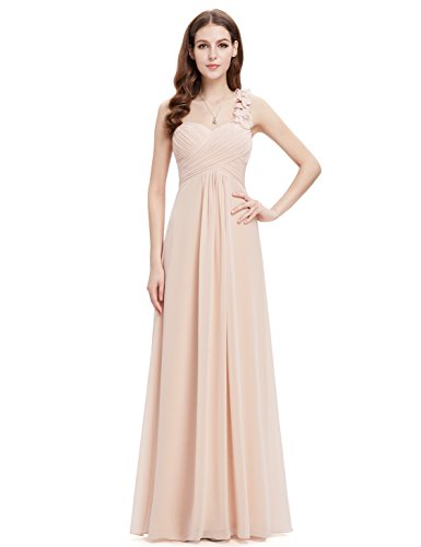 Ever-Pretty Womens One Shoulder Sweetheart Neckline Long Bridesmaid Dress 12 US Nude