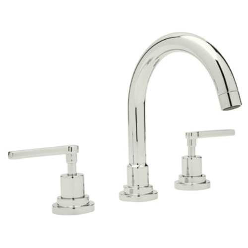 Rohl A2228LMPN-2 Lombardia C-Spout Widespread Bathroom Sink Faucet with Lever Handles, Polished Nickel C-spout Two Handle