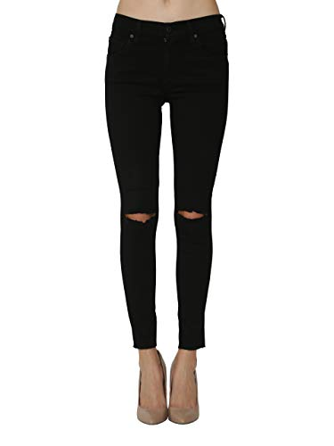 James Jeans Women's Jeans Mid Rise Skinny Ankle Twiggy Jeans in Flat Black Raw Size 28