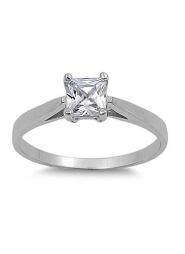 Sterling Silver Princess Cut Clear Solitaire Simulated Diamond Engagement Ring on Prong Setting with Pinched Side Views Rhodium Finish, Face Height of 5mm - Crazy2Shop