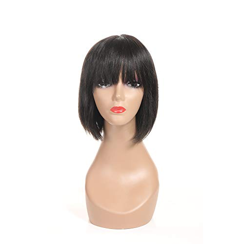 Beauty : PANEWAY Straight Human Hair Wigs Short Bob Wig with Full Bangs Brazilian Virgin Hair Real Hair Wigs Human Hair Wigs Shoulder Length Bob Style for Black Women African Americans Natural Color (10inch)