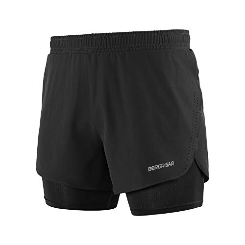 BERGRISAR Mannen Actieve Workout Running Shorts 2 in 1 008