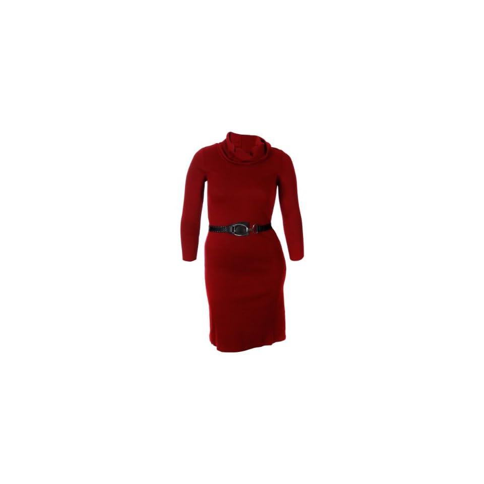 Lennie For Nina Leonard Women's Cowl Neck Soft Knit Dress (Medium, Ruby)