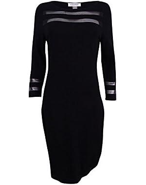 Womens 3/4 Sleeeve Illusion Detail Sheath Sweater Dress CD7W178N