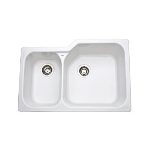 Rohl 6339-00 33-Inch Allia Double Basin Undermount Fireclay Kitchen Sink with Large Right Basin, (Undermount Double Bowl Fireclay Sink)