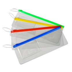 (Lot of 12 Assorted Color Zipper Style Plastic Pouches)