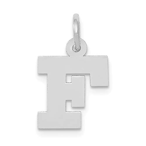 Jewelry Pendants & Charms Themed Charms 14k White Gold Small Block Initial F Charm