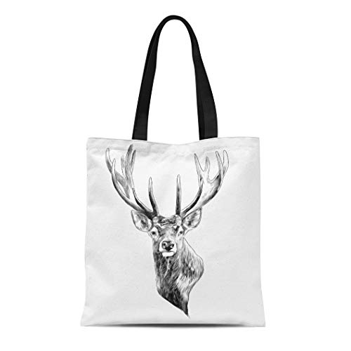 Semtomn Canvas Bag Resuable Tote Grocery Adorable Shopping Portablebags Elk Stag Deer Head Sketch Graphics Monochrome Black and White Natural 14 x 16 Inches Canvas Cloth Tote Bag