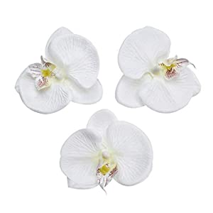 Fake Flower head Artificial Flower 8cm Silk Butterfly Orchid Head For Wedding Home Decoration DIY party festival Decor Flores Cymbidium Handmade 20pcs (white) 79