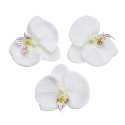 Fake Flower head Artificial Flower 8cm Silk Butterfly Orchid Head For Wedding Home Decoration DIY party festival Decor Flores Cymbidium Handmade 20pcs (white)
