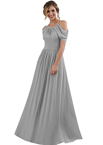Tie Back Floor - Women's Formal Bridesmaid Dress Long Halter Off The Shoulder Chiffon Evening Party Gown Silver Grey Size 16