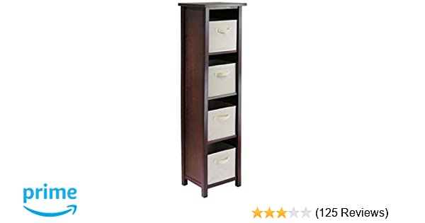 Amazon Winsome Wood Verona 5 Tier Open Cabinet With 4 Beige Folding Fabric Baskets Kitchen Dining