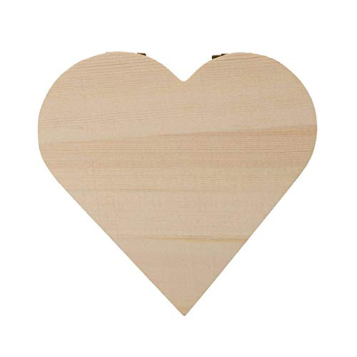 Xeminor Wooden Storage Case Durable Wooden Trinket Box Heart Trinket Box Plain Wooden Case Wooden Crafts Case for Trinket Jewellery Gift 1 Pcs by Xeminor (Image #4)