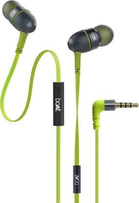 boAt BassHeads 220 Super Extra Bass Wired Headset with Mic  Neon Lime, in The Ear  In Ear Headphones