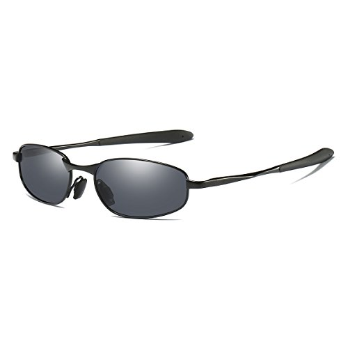 Polarized Sunglasses Small Size Rectangular Wrap Metal Frame UV400 Protection (Black, ()