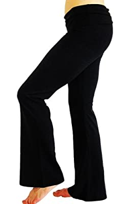 Women's Long Yoga Pants With Fold Down Waist S-M-L