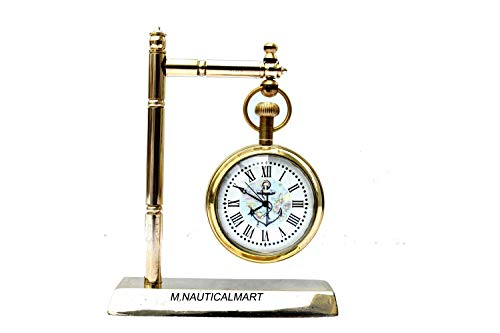 Table Clock Nautical Shiny Brass Maritime Working Handmade Royal Navy Style Decorative Sold by:M.Nauticalmart
