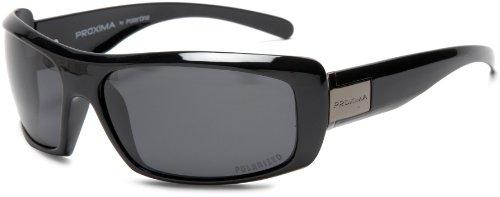 PolarOne PX-3003 (C1) Polarized Wrap Sunglasses,Shiny Black Frame/Grey Lens,one - Sunglasses Px