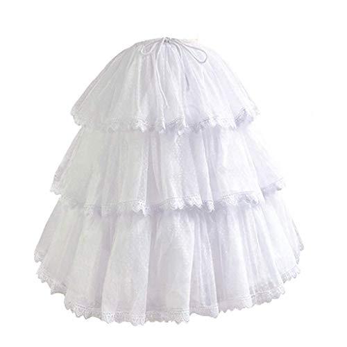 HappyStory Long-Short Dress Pannier Hoop Skirt Underskirt Petticoat Lolita Dress (White)