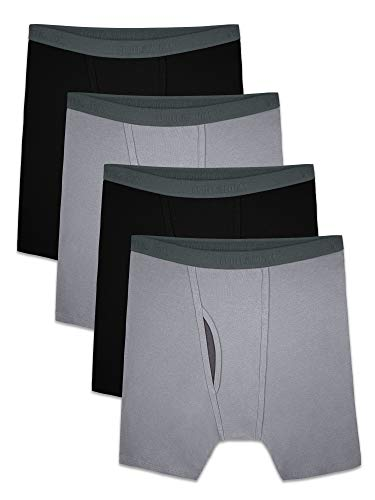 Fruit of the Loom Men's Premium COOLZONE Boxer Briefs, Black/Gray (4 Pack), Large