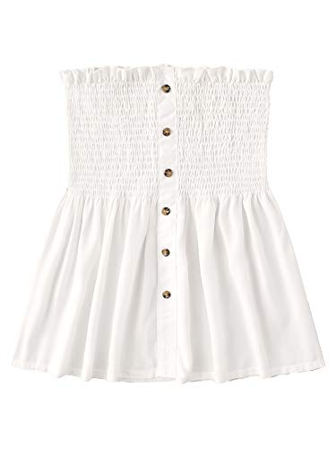 (SheIn Women's Frill Strapless Ruffle Hem Pleated Bandeau Tube Peplum Top Blouse Large White#2)