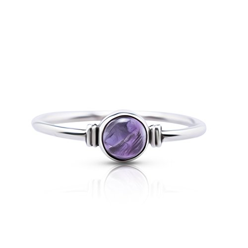Koral Jewelry Round Amethyst Delicate Ring 925 Sterling Silver Vintage Boho Chic US Size 5 6 7 8 9 (8) ()