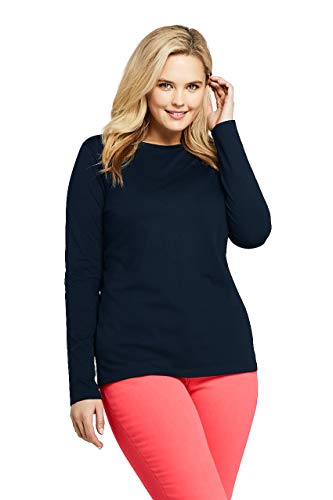 (Lands' End Women's Plus Size Supima Cotton Long Sleeve T-Shirt - Relaxed Crewneck, 2X, Radiant Navy)
