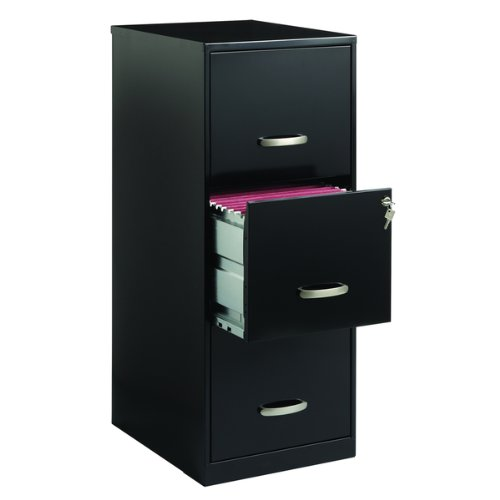 Contemporary Style Vertical 3 Drawer Black Steel File Cabinet by Office Designs