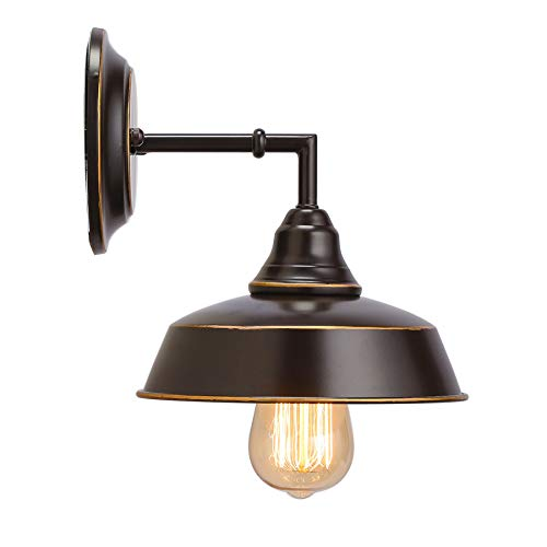 CO-Z Vintage 1-Light Wall Sconce Lighting, Indrustal Wall Mount Lamp in Oil Rubbed Bronze Finish, Metal Wall Sconce Light Fixture for Bathroom Bedroom Stair Cafe, ETL Certificate.