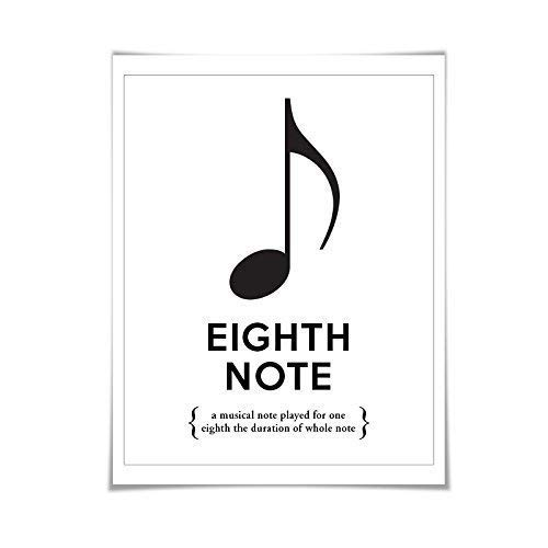 Eighth Note Musical Notation Typography Poster. 60 Colours/5 Sizes. Musician Gift. Music Poster. Teacher Gift