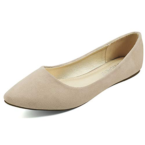 Classic Casual Pointed Toe Flats Flat Shoes Women Beige Sude 08