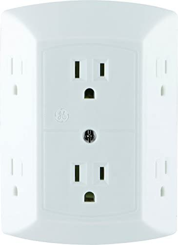 ge 6 outlet wall plug adapter power strip, extra wide spaced outlets for cell phone charger, power adapter, 3 prong, multi outlet wall charger, quick how to wire a double outlet in the middle of a run multiple outlets or switches in one box