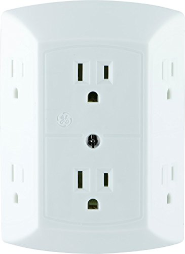 GE Grounded 6-Outlet Wall Tap with Adapter Spaced Outlets, Easy-to-Install, UL Listed, White, (Prong Design)