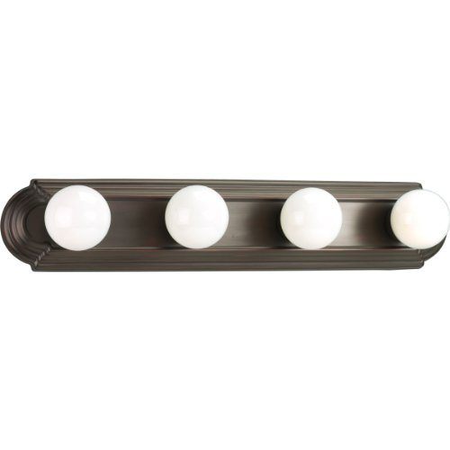 Progress Lighting P3025-20 4-Light Embossed Wall Mount Bracket Sockets Are On 6-Inch Centers and Wall Mount Only, Antique Bronze